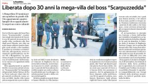 La Repubblica 04 12 2018 sequestrata villa a boss